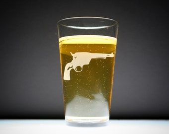 1 Pistol Etched Pint Glass