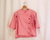 RESERVED for Nancy - Light coral wrap shirt with embroidery
