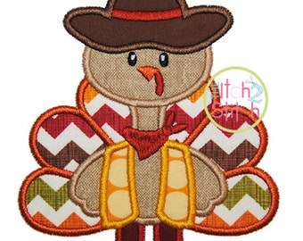 "Turkey Cowboy Applique, Shown with our ""Silly Monkey"" Font NOT Included, Hoop Size(s) 4x4, 5x7 and 6x10 INSTANT DOWNLOAD now available"