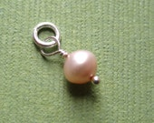 Genuine  Pink Pearl  Dangle Charm