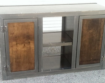 Steel & Wood Vintage Industrial Console Cabinet 002L