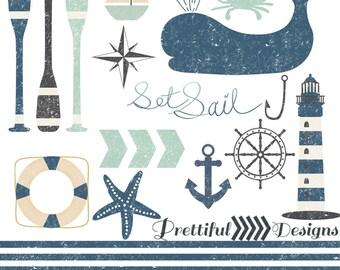 Nautical Clip Art Grunge Textured Digital Scrapbooking Clipart