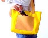Yellow vegan tote bag with pocket, Yellow tote, Mini tote bag, Yellow handbag, Yellow leather bag, Italian bags, Custom bags, Choose colors