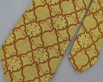 Vintage Necktie Wemlon Wembley Texture 60s Wide1970 Vivid Art Nouveau Mens Neck Tie V1-58