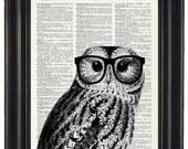 Owl Print Owl with Glasses Owl Art Print Owl Decor Owl Head Dictionary Book Page Print HHP Original Owl with Black Glasses