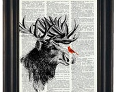 BOGO SALE Cardinal and Moose Art Print Dictionary HHP Original Book Page Print Upcycle Wall Art Book Art Cardinal and Moose