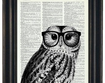 Owl Print Owl with Glasses Owl Art Print Owl Decor Owl Head Dictionary Book Page Print HHP Original Owl with Black Glasses