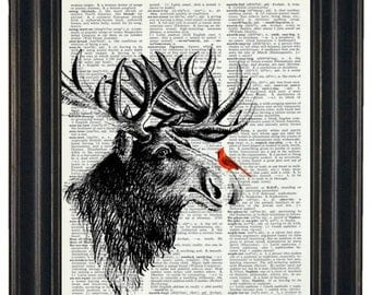 BOGO SALE Cardinal and Moose Art Print Dictionary HHP Original Book Page Print Upcycle Wall Art Book Art Cardinal and Moose