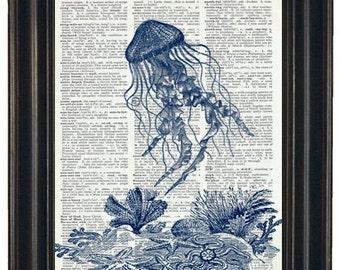 BOGO 1/2 OFF Sea Life Art Print Ocean Art Print Dictionary Art Print Jelly Fish Print Upcycled Wall Art A HHP Original Design 8 x 10 Blue
