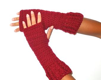 Crochet Fingerless Gloves, Claret, Red, Mittens, Long Fingerless Gloves