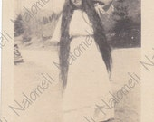 Vermont Woman with very long hair Black & White Vintage Photo Johnson Flagg Jolley