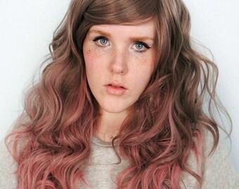 SALE Grey wig, pink wig, cosplay wig, scene wig, curly wavy long hair wig, Boho Indie Easter wig / / Miracle