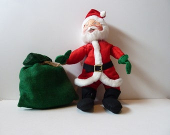 Vintage Anna Lee Santa with green burlap toy sack 1987