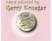 Handpainted MOP Buttons - Gather Friends in Bunches