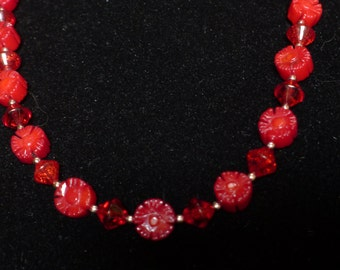 Deep Red Coral Carved Flowers Necklace with Earrings