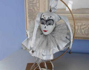 Silver Harlequin Head Hanging Decor