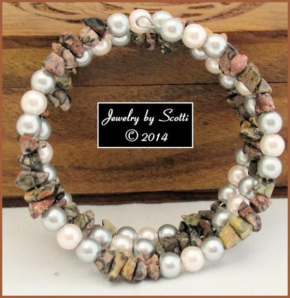 Leopard Jasper Crystazzi Pearl Multi Gray Pink Memory Wire Bracelet