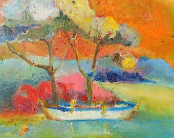 Boat- original modern abstract oil painting on canvas- 16 x 16