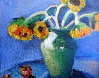 Sunflowers- original oil painting on canvas - 9.6 x 9.6 inches- framed
