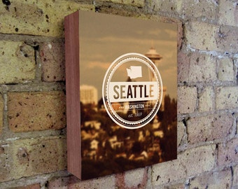 Seattle Art - Retro Insignia -  Vintage Seal -  Wood Block Wall Art Print - Seattle Art