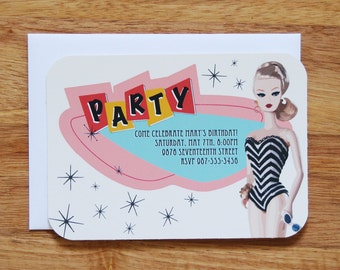 Personalized Barbie Birthday Party Invitations (Blonde) - Set of 12