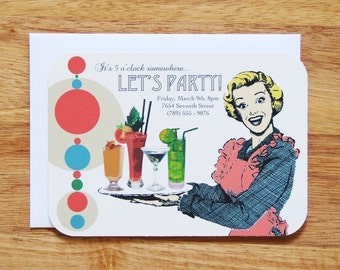 Personalized Cocktail Party Invitations - Set of 12