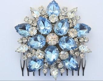 something blue light blue baby blue swarovski clear rhinestone art deco bridal hair comb silver wedding crystal hair comb large headpiece