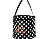CLEARANCE SALE--Personalized Monogrammed Halloween Bucket Bag Tote Black Polka dot--Free Monogramming--