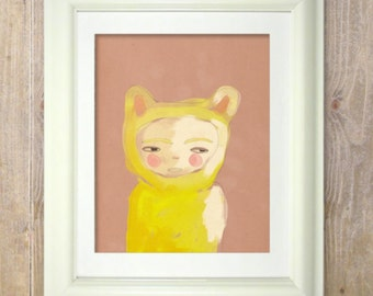 Gold Pablo // Illustration Print, Portrait, Animal Art, Kids Art, Woodland Nursery Art, Digital Print, Giclee, Drawing, Painting, Modern Art