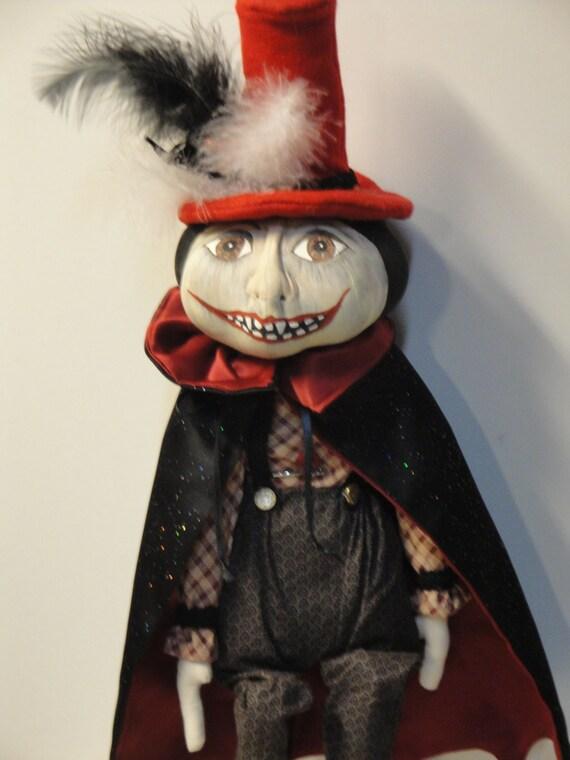 Dracula Halloween Day of the Dead Cloth Art Doll