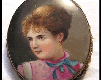 Painted Porcelain Portrait Pin circa 1900