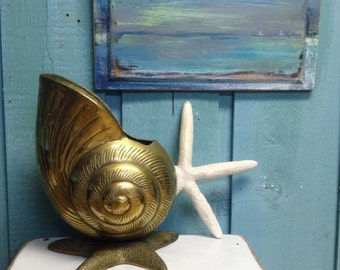 Brass Nautilus Seashell Starfish Container Vase Container Beach House Coastal Living Vintage Decor CastawaysHall READY TO SHIP
