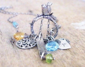 mother's necklace mother bird and bird nest / family necklace/ new baby necklace