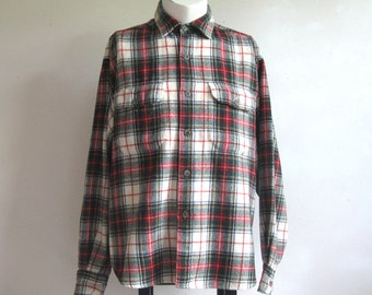 Vintage Plaid Mens Shirt Green Red Plaid Outdoors Wool Blend Shirt Large