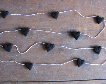 Felted wool heart garland, Black, on red striped baker's twine, 6ft, Anti-Valentine party decor, black heart garland, funny valentine gift