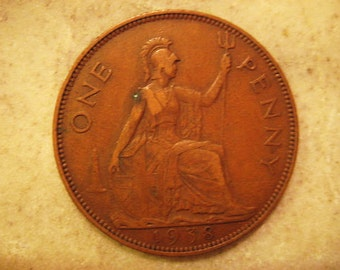 1938 United Kingdom Bronze Coin, 1 Penny , George VI