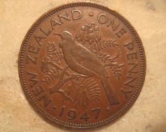 1947 New Zealand - Large Bronze One Penny Coin, Tui Bird