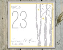 10 Custom Nature Birch Tree Table Numbers - Personalized Wedding Table Numbers / Shower Table Numbers / Birthday Custom Table Numbers Cards