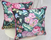 Pair of Designer Accent Pillows, Vintage Brunswick & Fils Fabric, 20  x 20, multi color floral on black glazed cotton