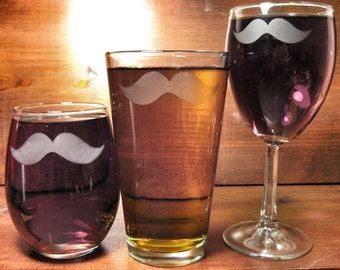 Classic Mustache Etched Glass