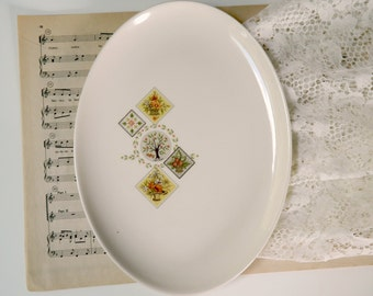 Vintage Taylor Smith and Taylor Brocatelle Serving Platter. Autumn Harvest Colors. Replacement China. Kitchen Tableware. Farmhouse Chic.