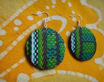 African Green Wax Print Batik Fabric Earrings Tie Dye Hippie Boho