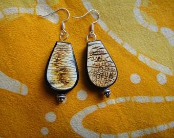Tribal Teardrop Horn Earrings Afrocentric Bead Jewelry