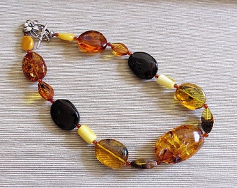 Necklace of natural genuine multicolour Baltic amber./ 100% Natural Genuine Baltic Amber./Nugget Baltic amber.