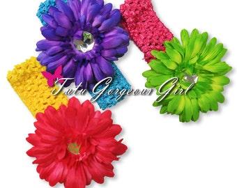 Flower Clip and Optional Crochet Headband for Tutus