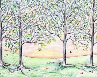 "Summer Rising - Little Birds, Trees Landscape Illustration Original Pen and Ink Drawing - 5x7"" Wall Art - Pastel Color Pencil Small Art"