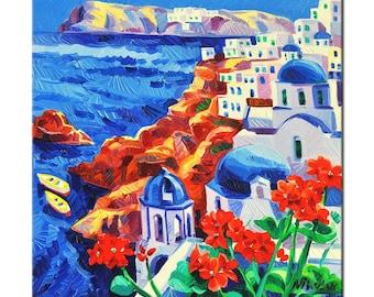 Original Oil Painting of Santorini-White town 12x12 Landscape Painting Original Art Impressionistic Oil on Canvas by Ivailo Nikolov