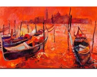 Original Oil Venice Landscape  12in x 20 in, Landscape Painting Original Art Impressionistic OIl on Canvas by Ivailo Nikolov