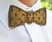 Wooden, Laser Cut Bow Tie - Handsome, Custom Mens Gift from Walnut Veneer