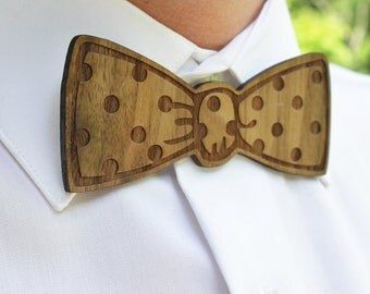Wooden, Laser Cut Bow Tie - Handsome, Custom Mens Gift from Walnut Veneer